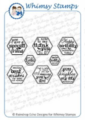 *** Whimsy Stamps - Everyday Honeycomb Sentiments - Sentiments Collection
