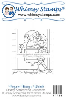 Whimsy Stamps - Penguins Hang a Wreath - Crissy Armstrong Collection