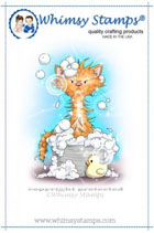 Whimsy Stamps - Bath Cat - Crissy Armstrong Collection