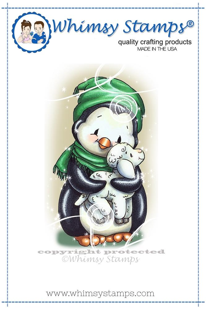 Whimsy Stamps - Penguin Cuddles Lamb