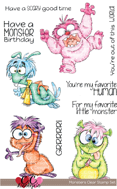 *PRE-ORDER* - CC Designs - Monsters Clear Stamp Set