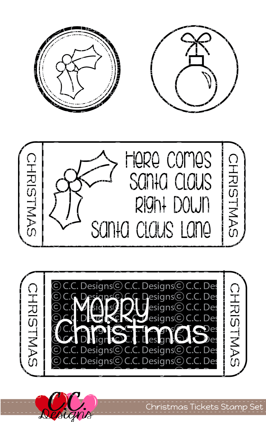 *PRE-ORDER* - CC Designs - Christmas Tickets Clear Set