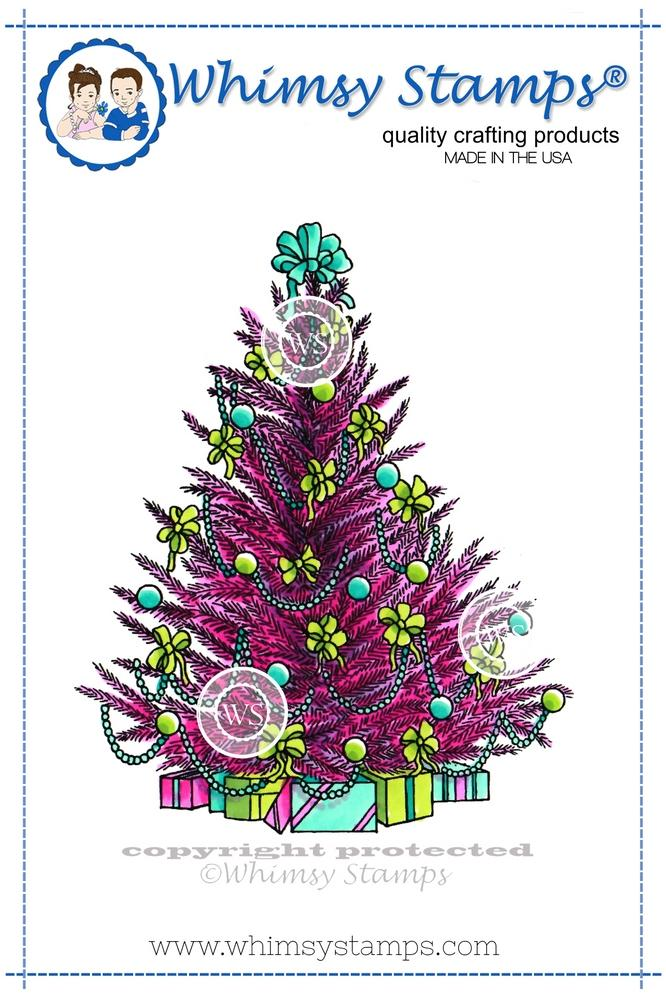 *NEW* - Whimsy Stamps - Christmas Tree Rubber Cling Stamp