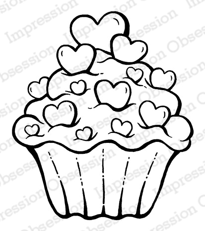 *NEW* - Impression Obsession - Sweetheart Cupcake - cling mounted