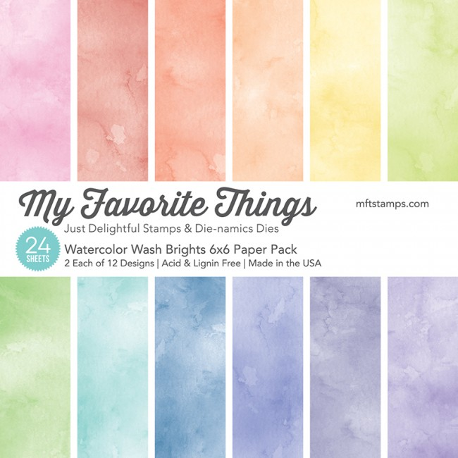 My Favorite Things - Watercolor Wash Brights 6 x 6 Paper Pack