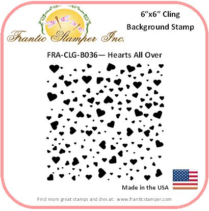 *NEW* - Frantic Stamper - 6x6 Background Rubber Stamp - Hearts All Over