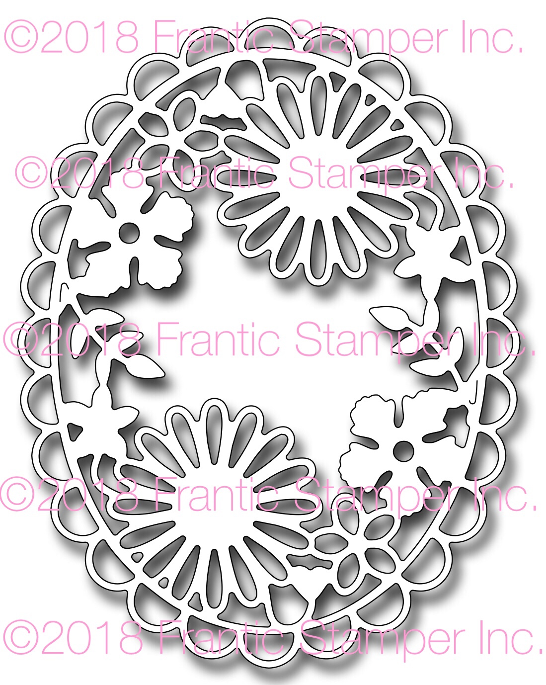 *NEW* - Frantic Stamper - Precision Die - Floral Oval Medallion