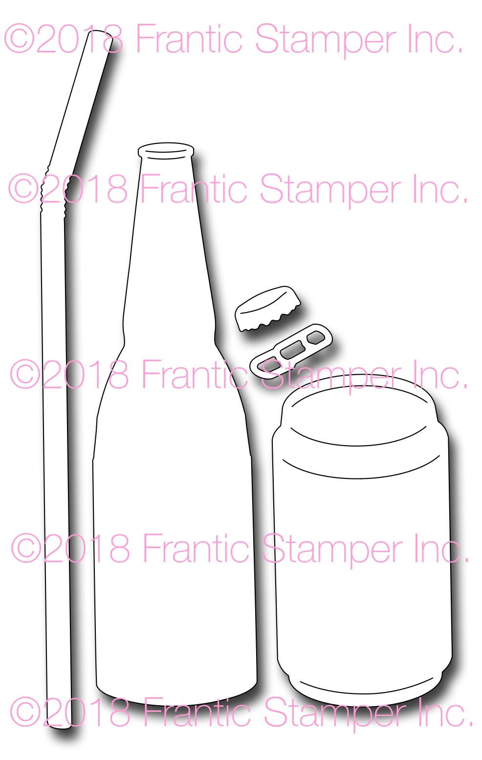 *NEW* - Frantic Stamper - Precision Die - Soda or Beer Bottle And Can
