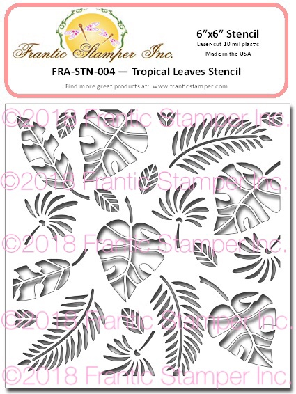 "*NEW* - Frantic Stamper - 6""x6"" Stencil - Tropical Leaves"