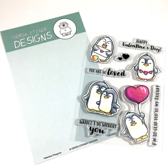 Gerda Steiner - Valentine Penguins 4x6 Clear Stamp Set