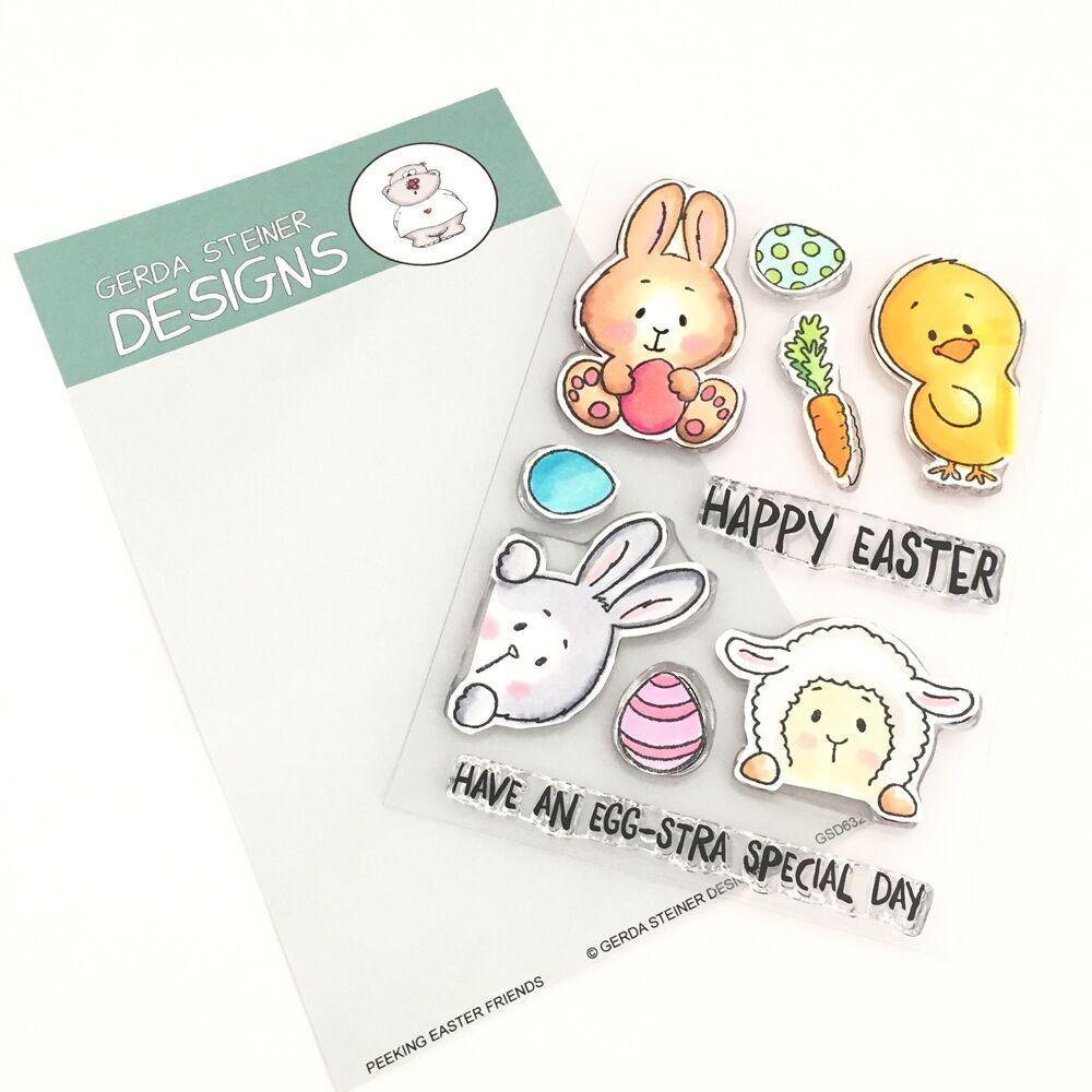 *NEW* - Gerda Steiner - Peeking Easter Friends 4x6 Clear Stamp Set
