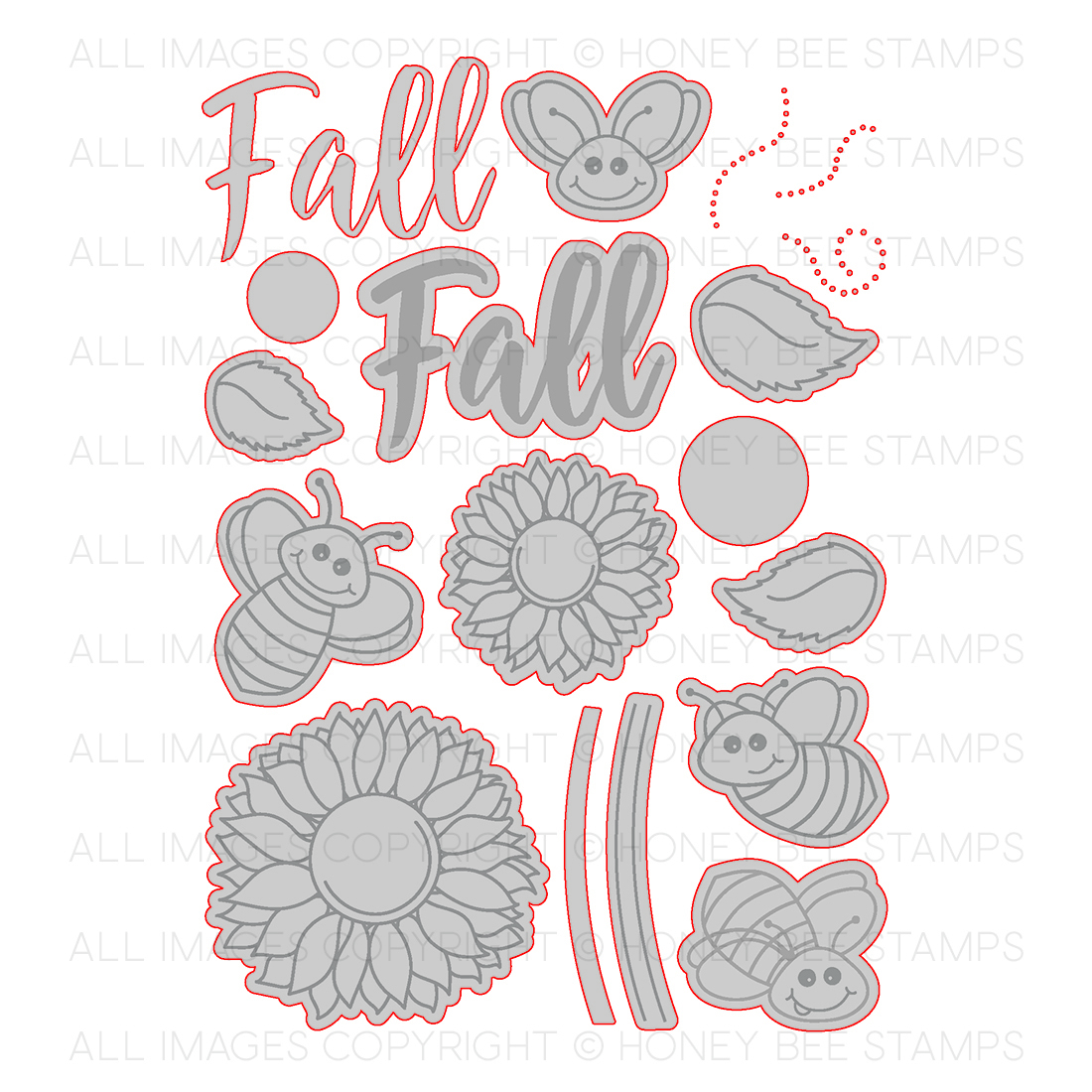 Honeybee Bee Stamps - Happy Fall Y'all | Honey Cuts | Steel Craft Dies
