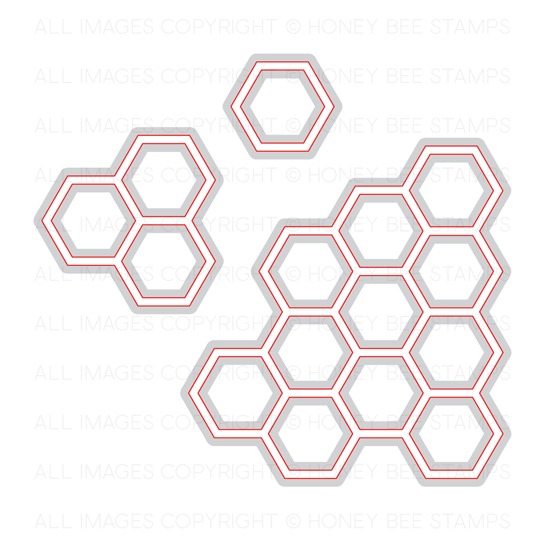 Honeybee Bee Stamps - Hexagon Bunches | Honey Cuts | Steel Craft Dies