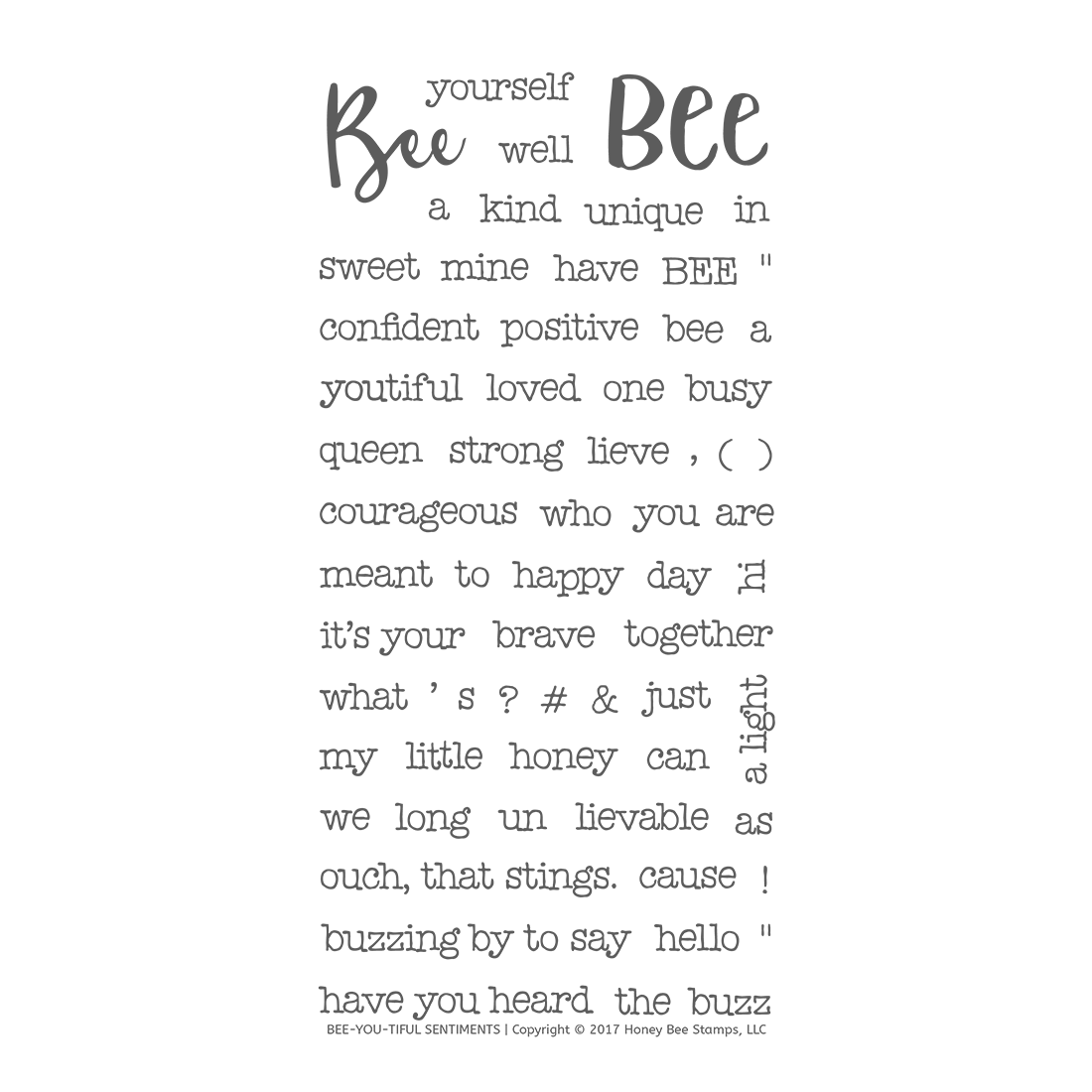 Honeybee Bee Stamps - Bee-You-Tiful Sentiments | 4x8 Stamp Set