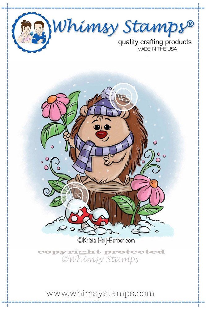 Whimsy Stamps - Winter Hedgehog - Krista Heij-Barber