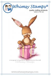 Whimsy Stamps - Bunny on Present - Lee Holland Collection