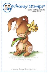 Whimsy Stamps - Bunny with Daffodil - Lee Holland Collection