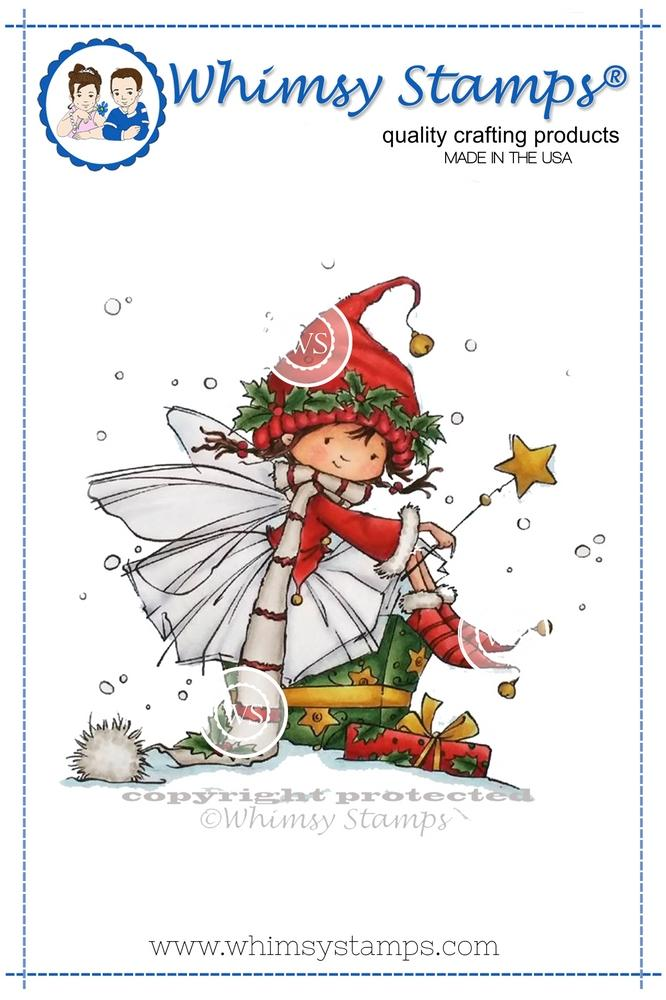*NEW* - Whimsy Stamps - Christmas Sprite Rubber Cling Stamp