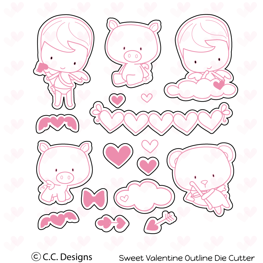 CC Designs - Sweet Valentine Outline Metal Die