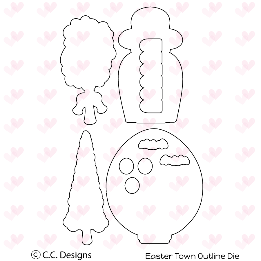 *NEW* - CC Designs - Easter Town Outline Metal Die