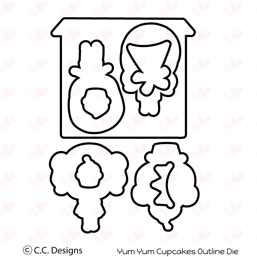 *NEW* - CC Designs - Yum Yum Cupcake Outline Die