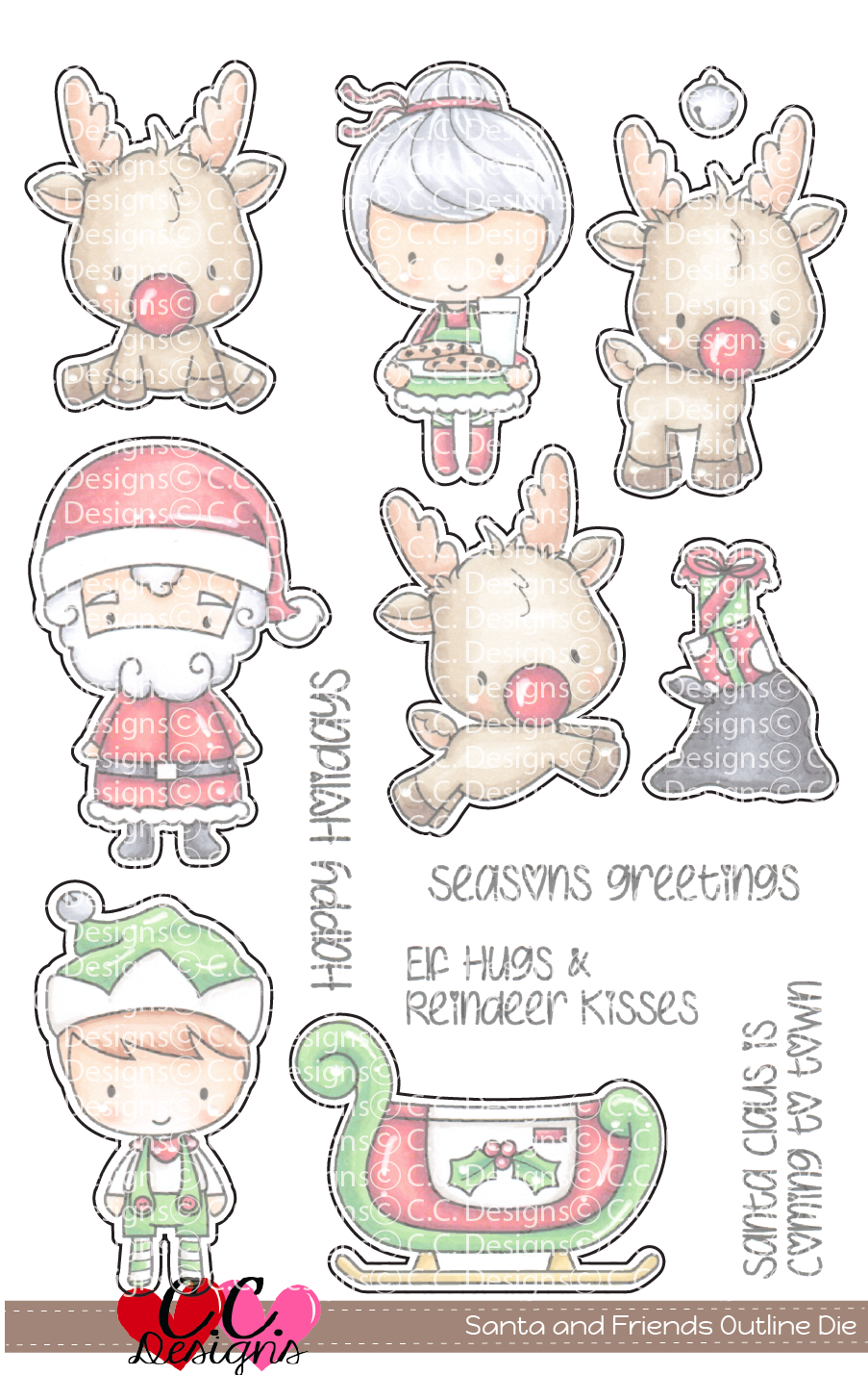 *PRE-ORDER* - CC Designs - Santa and Friends Outline Cutter