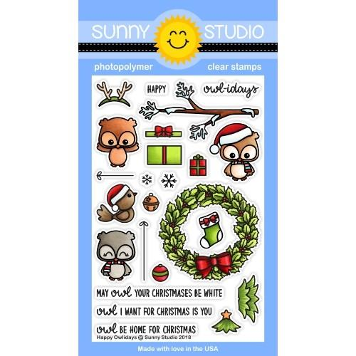 *12 DAYS OF CHRISTMAS* - Sunny Studio - Happy Owlidays Stamps PLUS MATCHING DIE
