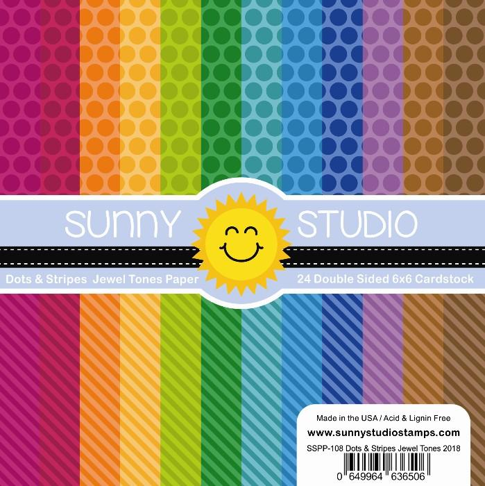 *NEW* - Sunny Studio - Dots & Stripes Jewel Tone Paper