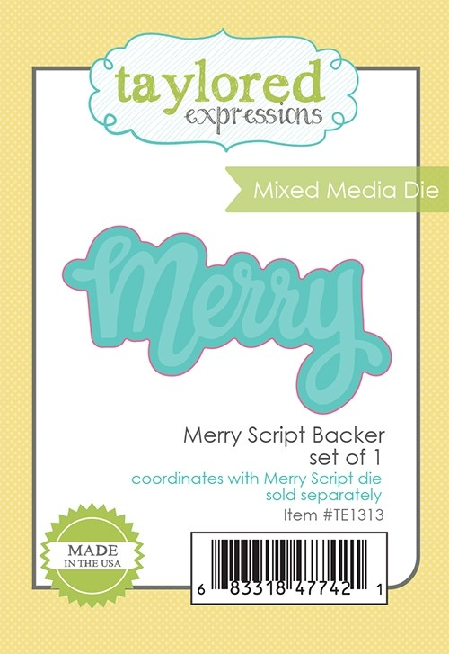 *NEW* - Taylored Expression - Merry Script Backer - Mixed Media Die
