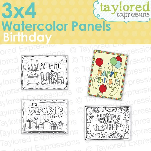 Taylored Expressions - 3x4 Watercolor Panels - Birthday