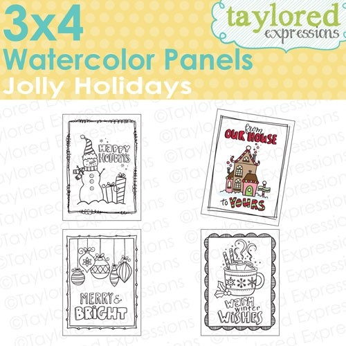 *NEW* - Taylored Expressions - 3x4 Watercolor Panels - Jolly Holidays