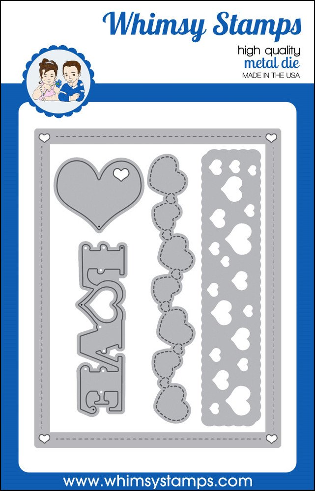 Whimsy Stamps - Card Builder - Hearts of Love die - Shapeology Dies
