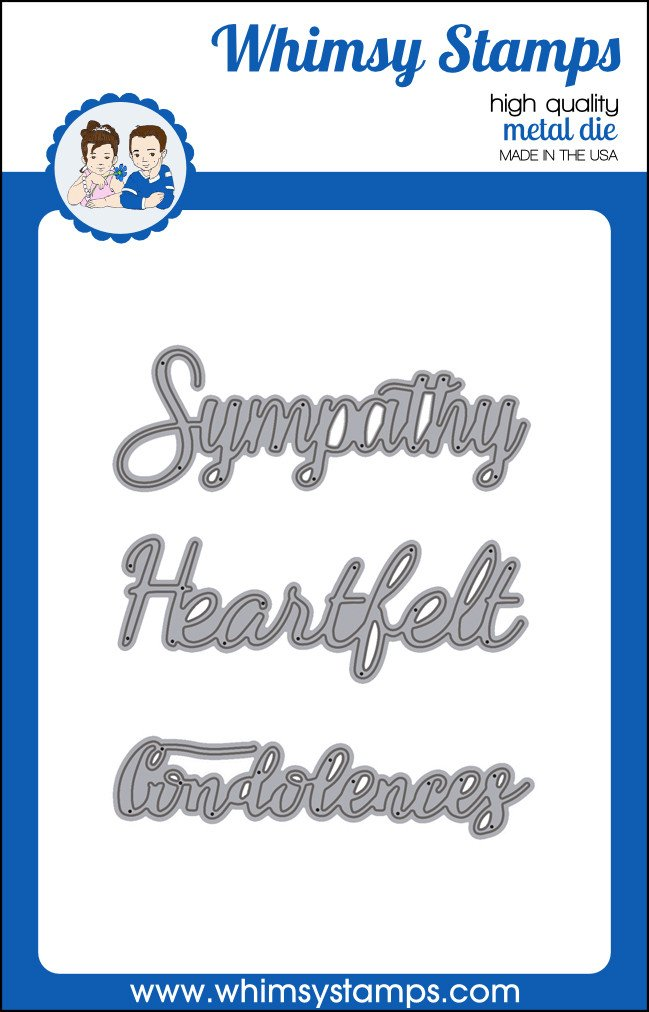 Whimsy Stamps - Word Die Set - Sympathy Heartfelt and Condolences