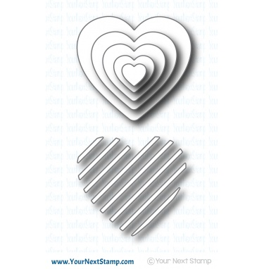 Your Next Stamp- Stripe-tastic Heart Die Set