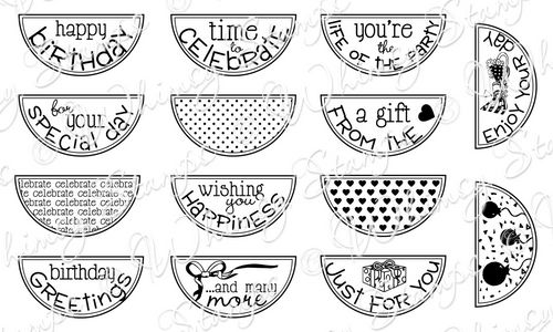 Whimsy Stamps - Celebration Circle Pennants - Sentiments Collection