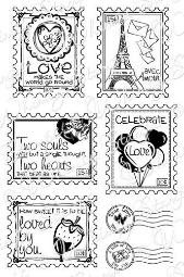 * Whimsy Stamps - Love Postage Stamps - Sentiments Collection