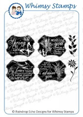 *** Whimsy Stamps - Spring Silhouettes Notables 6 - Sentiments Collection