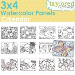 Taylored Expressions - 3x4 Watercolor Panels - Calendar
