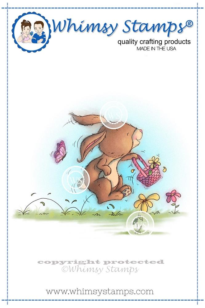 Whimsy Stamps - Bunny Picking Flowers