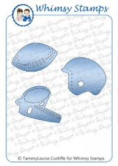 ###Whimsy Stamps - Football Die Set - Shapeology Dies