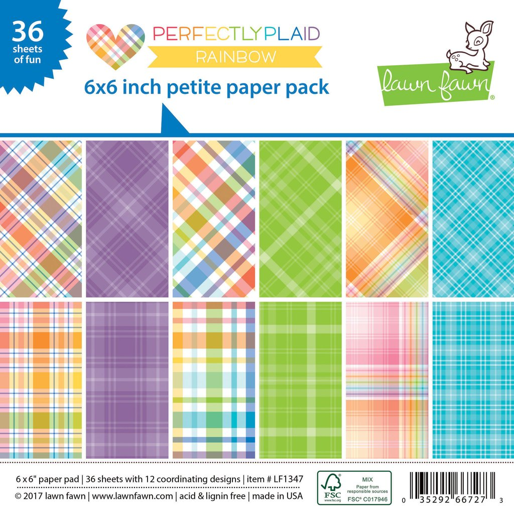 *NEW* - Lawn Fawn - Perfectly Plaid Rainbow - Petite Paper Pack