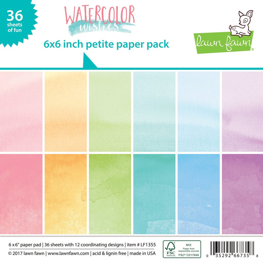 Lawn Fawn - Watercolor Wishes - Petite Paper Pack