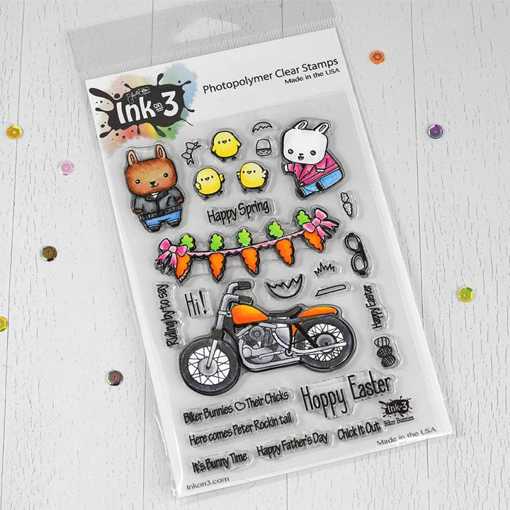 ### Ink On 3 - Biker Bunnies 4x6 Clear Stamp Set