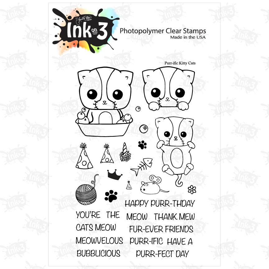 ### Ink On 3 - Purr-ific Kitty Cats 4x6 Clear Stamp Set