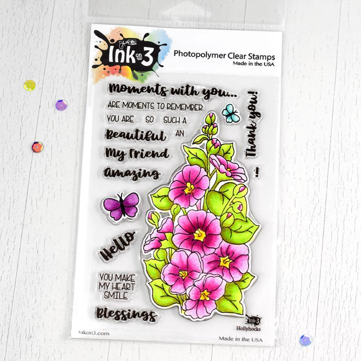 Ink On 3 - Hollyhocks 4x6 Clear Stamps