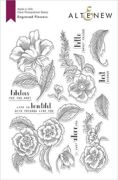 *NEW* - Altenew - Engraved Flowers Stamp Set