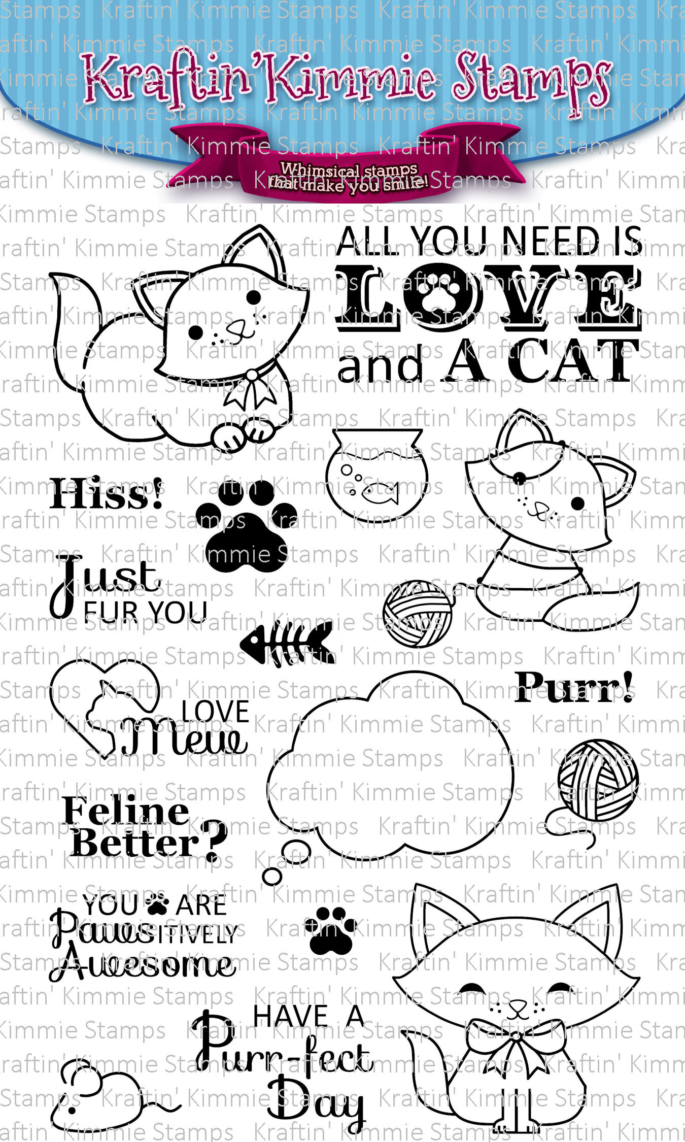 Kraftin' Kimmie Stamps- A Purr-fect Day