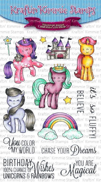 Kraftin' Kimmie Stamps- Unicorns & Rainbows