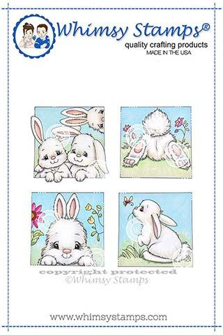 ###Whimsy Stamps - Bunny Spring Squares Rubber Cling Stamp