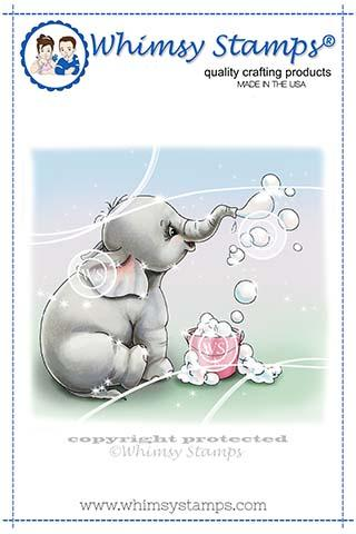 Whimsy Stamps - Ellie Blows Bubbles Rubber Cling Stamp